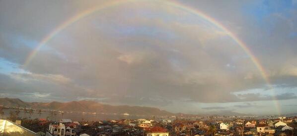 Rainbow over devastated Tacloban