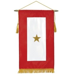 ***The gold star represents a military family member was killed in action. For families who've made the ultimate sacrifice, displaying the banners year-round is a solemn way to honor and pay tribute to their loved one(s).